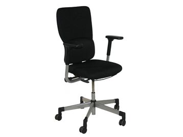 Used Steelcase Lets B Operator Chair Re-upholstered in New Black Fabric
