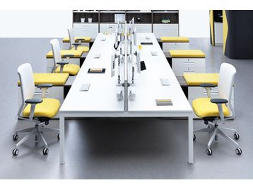 Used White Senator Bench Desks. Each desk 1400mm wide