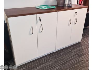 Used White 2 Door Cupboards with Walnut Tops