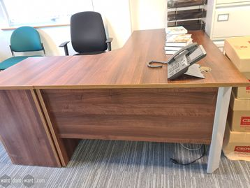 Used 1600mm Walnut Corner Desks including Desk Height Pedestal