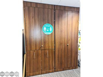 Used Walnut Double Door Storage Cupboards