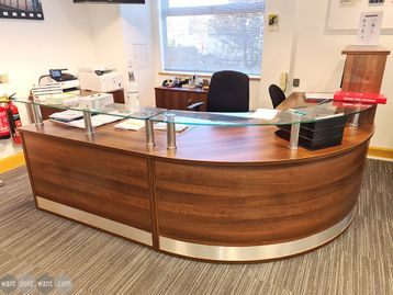 Used Curved Walnut Reception Desk with Glass Counter