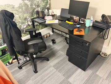 Used 1200mm Steelcase Black Desks with Integrated Pedestals