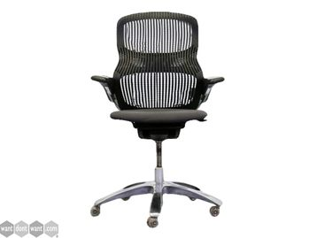 Refurbished Knoll Generation Black Operator Chairs with Grey Fabric Seat