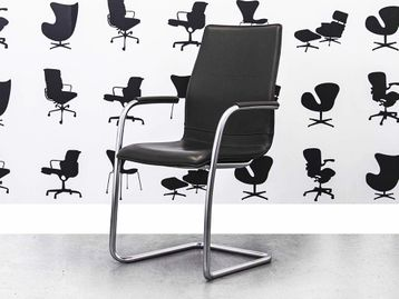 Refurbished Kusch+Co Uni Verso 2130 Cantilever Chairs in Black Leather