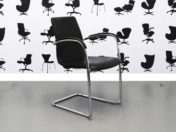 Refurbished Kusch+Co Ona Plaza Stacking Meeting Chairs in Black Leather