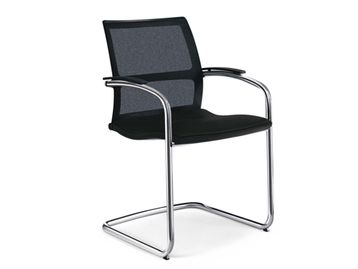 Used Sedus Open Up Cantilever Meeting Chair with Black Fabric Seat and Chrome Frame