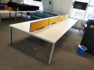 Used 1200mm White Bench Desks - Price Per Position
