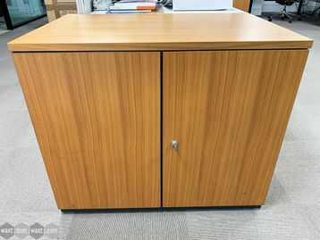 Used Oak Veneer Double Door Cupboard Credenza