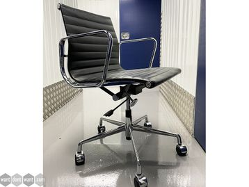 Used Eames-Style Leather & Chrome Meeting Chairs