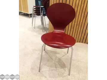 Used Danerka Red Stacking Canteen Chairs