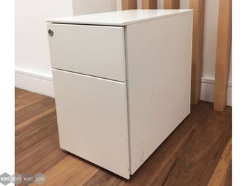 Used Slim White 2 Drawer Pedestals