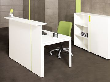 Contemporary reception desk with many configuration possibilities and a choice of top from white or dark grey front panels with white, birch or walnut tops.