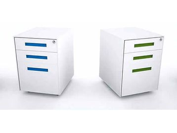 Brand New white steel pedestals with handles in your choice of colour.
