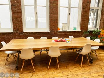 Used 3440mm Solid Wood Table with Industrial Steel Legs