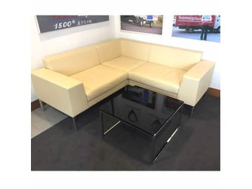 Boss Design Layla L shaped cream leather sofa in superb condition.