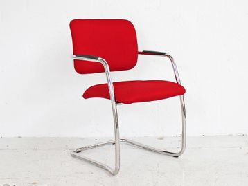 Used Red Fabric Cantilever Stack-able Meeting Chairs