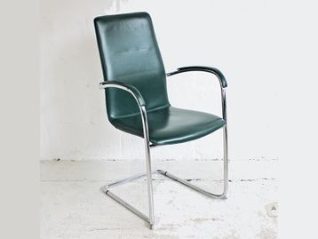 Used Green Leather Kusch + Co '8500 Ona Plaza' Chairs