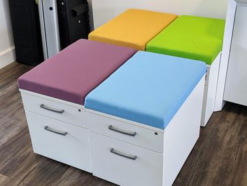 Used Elite 2 Drawer Mobile Pedestal with Seat Pad - 4 Colours Available