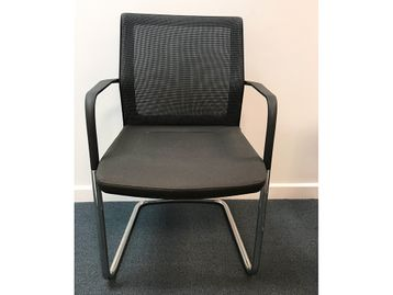 Brand New Orangebox Workday Cantilever Meeting Chairs with Black Fabric Seats