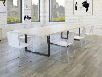 Modern 3800mm conference table with Matt Black Legs, connection ports and cable channelling