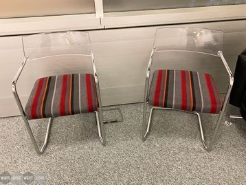 Used Cantilever chairs with striped fabric seats