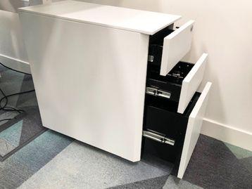 Slim White Under Desk 3 Drawer Pedestals