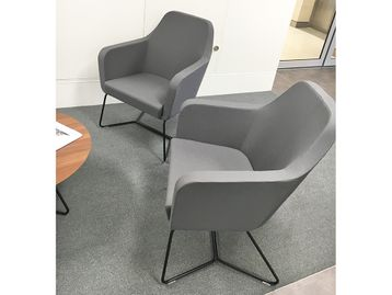 Used Set including 2 x Grey Fabric Chairs and 1 x Coffee Table