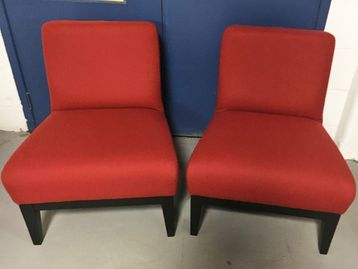 Used Red Fabric Reception Chairs