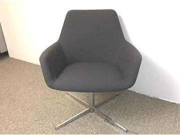 Hitch Mylius HM86 Swivel reception chairs upholstered in grey fabric with 4 star chrome bases.