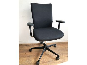 Used Vitra Axess Operator Chairs Re-upholstered in New Black Fabric