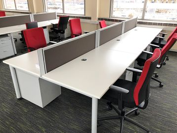Used 1400mm White Bench Desks with Screens and Pedestals Included