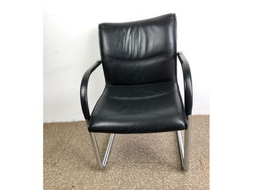 Used Black Leather Kusch & Co Boardroom Meeting Chairs