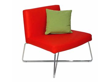 Brand New Contemporary red faux leather chair with chrome rod frame.