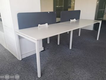 Used 1400mm White Side-by-side inline Desks with Screens & Cable Trays