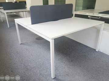 Used 1400mm White Bench Desks with Screens & Cable Trays