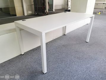 Used 1600mm White Single Desk with Cable Ports
