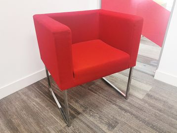 Used Red Fabric Reception Seating