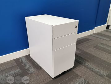 Used Slim White Steel Under Desk 3 Drawer Pedestals