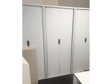 Used Tall White Tambour Door Cupboards