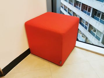 Used Sits Fabric Cube Stool