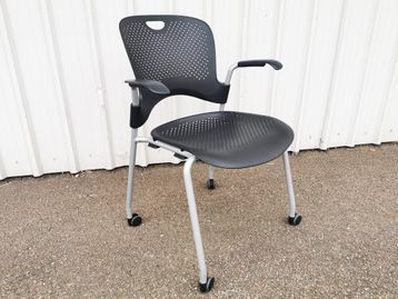 Used Herman Miller Black Caper Chairs with Arms and Wheels