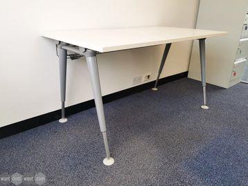 Used 1400mm White Herman Miller Abak Desks with Silver Height Adjustable Legs