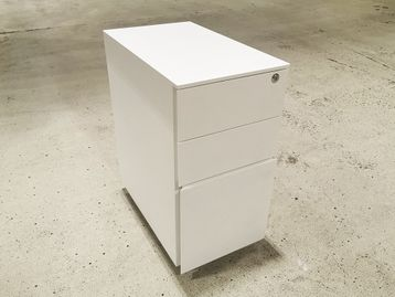 Used Steel Slim White Under Desk Mobile Pedestal