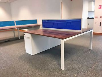Used 1600mm 2-person Task 'Team' bench desks with walnut tops and Supporting Pedestals