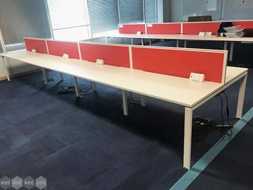 Used 1400mm White Bench Desks with Screens and Cable Trays