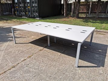 Used 1400mm Back to Back White Office Bench Desks - Price per position