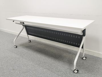 Used White Flip Top Folding White Tables on Casters