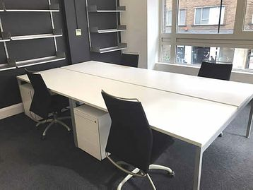 1600mm Fantoni OT White bench desks with silver goalpost legs available configured as 2-person benches.
