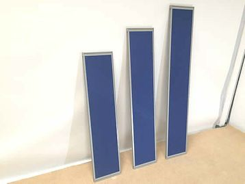 Royal blue desk dividing screens with aluminium frame, 3 sizes available.